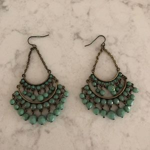 Jewelry - Teal Chandelier Earrings